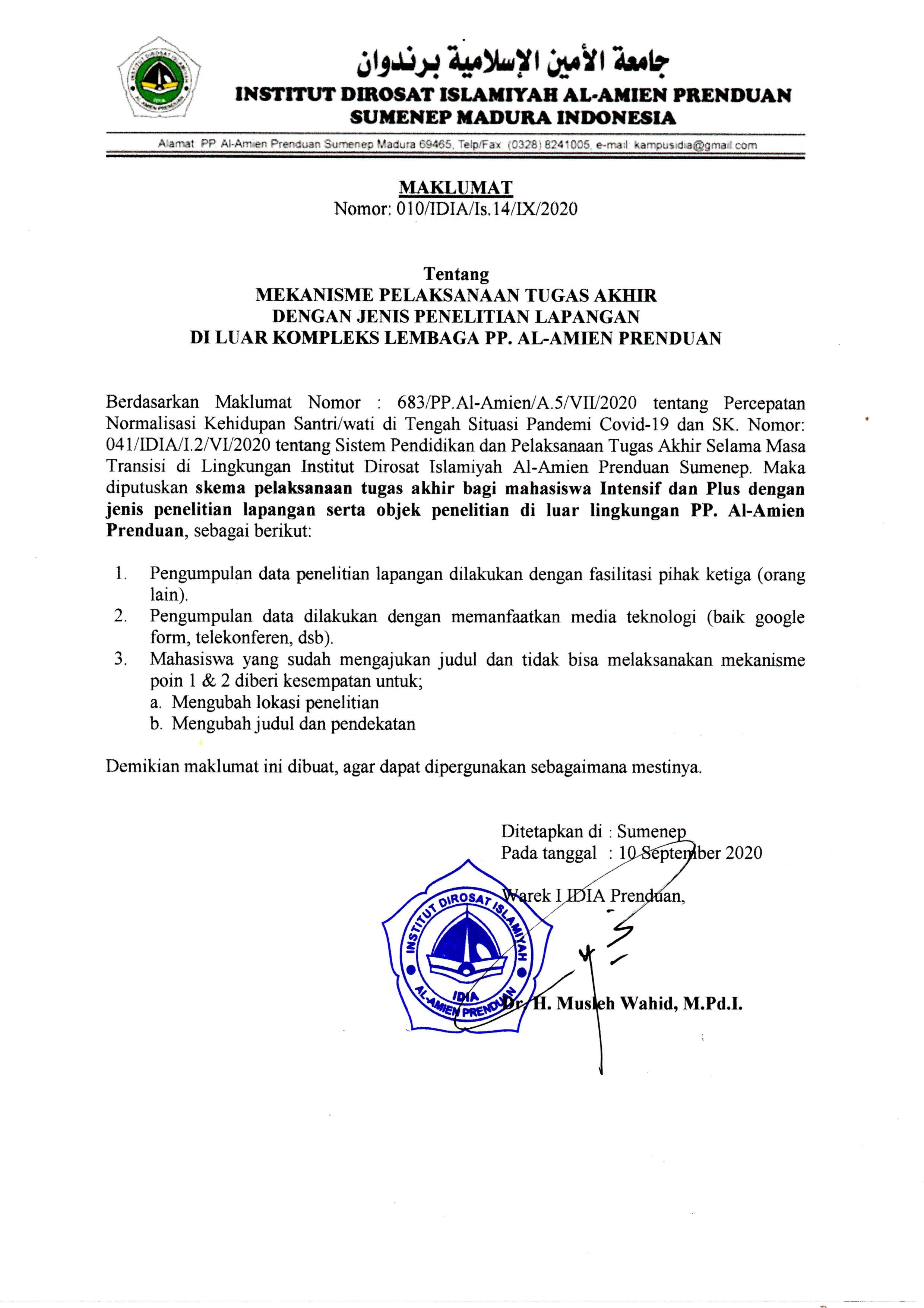 Maklumat Pelaksanaan Penelitian Lapangan Tugas Akhir di Luar Kompleks PP. Al-Amien Prenduan